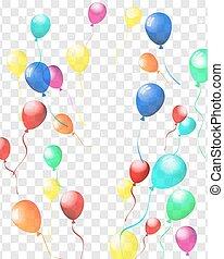 ballons, transparent, coloré