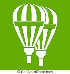 ballons, vert, icône