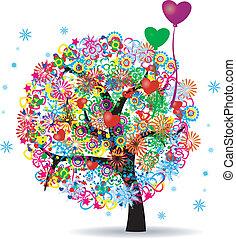 ballons, vie, arbre