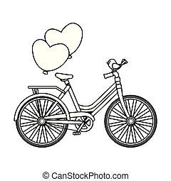 ballons, vogel, fiets, retro, lucht