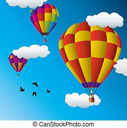 ballons, warme, hemel, lucht