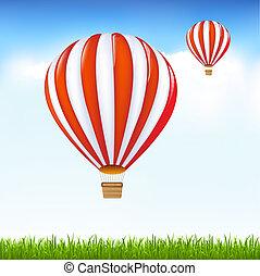 ballons, warme, hemel, zwevend, lucht