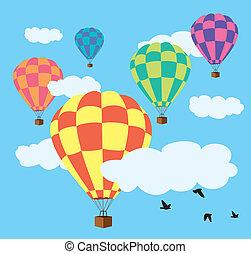 ballons, warme, vector, hemel, lucht
