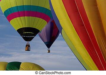 ballons, warme, vlucht, lucht