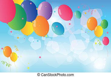 ballons, zwevend, hemel, kleurrijke