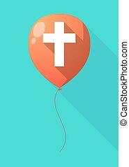 balloon, árnyék, keresztény, kereszt, hosszú
