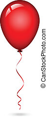 balloon, červeň, ilustrace, vektor