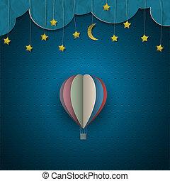 balloon, αέραs , ζεστός , αστέρας του κινηματογράφου , φεγγάρι