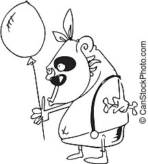 balloon., サル, イメージ, 空気, ベクトル, 黒, 白
