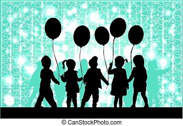 balloon., シルエット, 子供