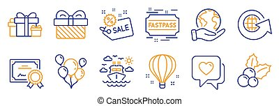 balloon., セット, 旅行, アイコン, そのような物, ベクトル, 船, 空気, ホリデー, セール