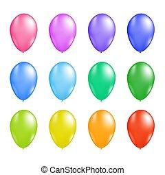 balloon, ベクトル, セット, カラフルである