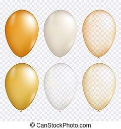 balloon, ベクトル, セット, 金