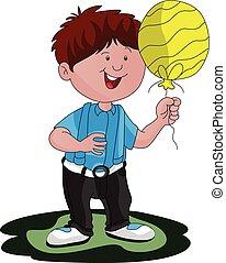 balloon., ベクトル, 男の子