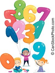 balloon, 子供, stickman, 数, イラスト