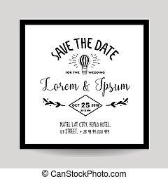 balloon, 招待, -, 空気, 主題, ベクトル, 結婚式, 日付, を除けば, カード
