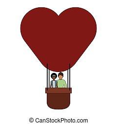 balloon, 暑い, 恋人, 空気