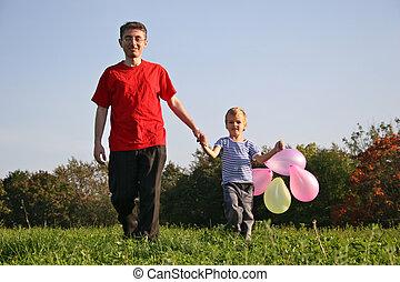 balloon, 父, 息子