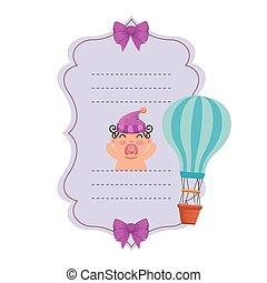 balloon, 空気, シャワー, 暑い, 赤ん坊, カード