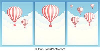 balloon, 空気, 暑い, 招待, 旗, 旅行, 雲