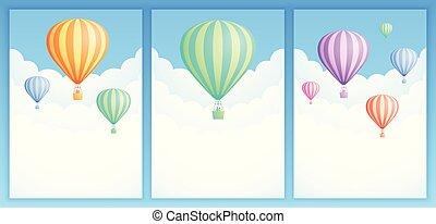balloon, 空, コレクション, 空気, 暑い, 冒険, 旗