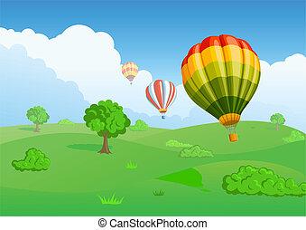 balloon, 緑の採草地, 背景, 空気
