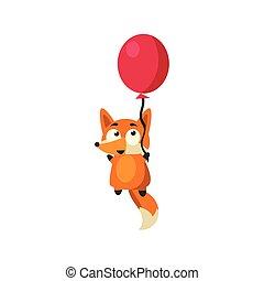 balloon, 飛行, キツネ