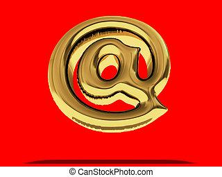 "balloon, 상징., ""at"", 금, 3차원"