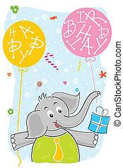 balloon, 생일 선물, 코끼리