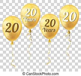 balloon, 20, dorato, trasparente, anni
