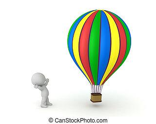 balloon, 3, šťastný, stavět na odiv, charakter, horký