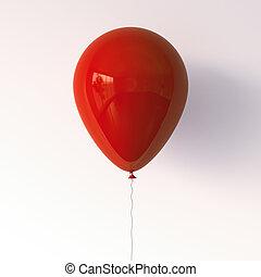balloon., 3d, 赤, レンダリング