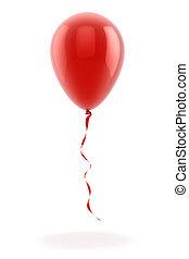 balloon, 3d, fond blanc, rouges
