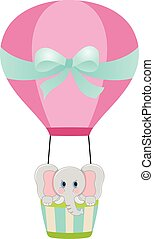 balloon, air, chaud, éléphant