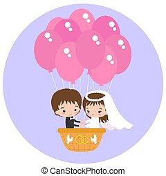 balloon, air, chaud, mariage