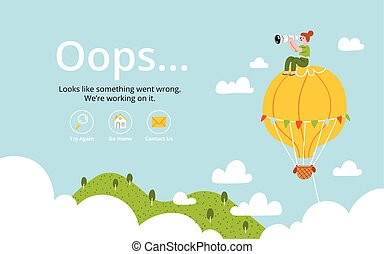 balloon, air, chaud, oops, erreur, page