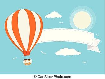 balloon, air, chaud, vecteur, bannière, dessin animé