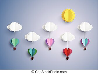 balloon, air, forme., chaud, coeur