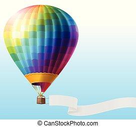 balloon, air, réaliste, chaud, vecteur, vide, ruban