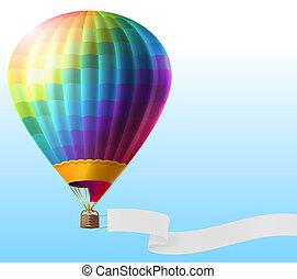 balloon, air, réaliste, chaud, vide, ruban