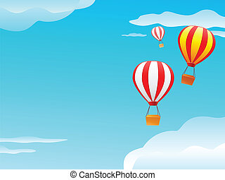 balloon and clouds in blue sky