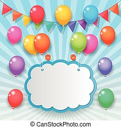 balloon and party flags sky background - balloons cloud...