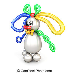 Balloon animal bunny hare isolated on white background