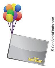 balloon, aniversário, bandeira