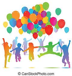 balloon, aniversário, crianças