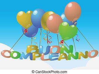 balloon, aniversário, feliz