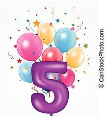 balloon, aniversário, número, feliz