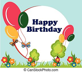 balloon, aniversário, quadro, fundo