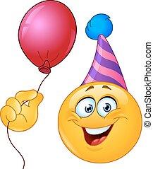 balloon, anniversaire, emoticon