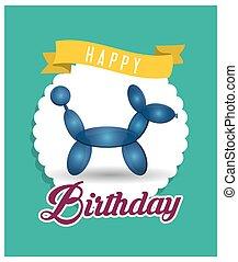balloon, anniversaire, vert, ruban, chiot, carte, heureux